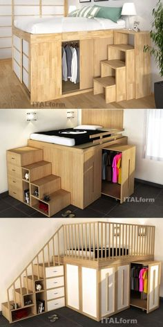 Impero space-saving loft beds by ITALform Design. Space-saving furniture – Famous Last Words Space Saving Bedroom, Space Saving Furniture, Furniture For Small Spaces, Room Design Bedroom, Bedroom Furniture Design, Bedroom Decor, Diy Furniture, Ikea Bedroom, Bedroom Ideas