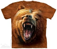 T-Shirts The Mountain Grizzly Growl Bear Roar Furious Angry Big Face T Tee Shirt Band Shirts, T Shirts, Harley Davidson, North American Animals, Bear Face, Bear T Shirt, Bear Hoodie, Brown Bear, Kids Outfits