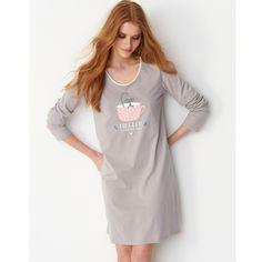 Camisas de dormir em algodão estampado, mulher, lote de 2 Pequenos Preços | La Redoute