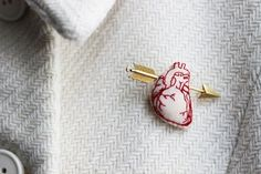 "Anatomical tiny stitched heart stick pin The Etsy dealer does not seem to have this in stock any longer~ but I say, ""bring it back!"""