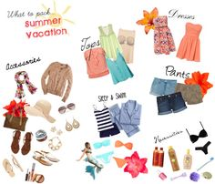 """""""what to pack for summer vacation""""... I need clothes...but trying to decide what to buy is too hard... And this is the only thing I'm pulling up with Pinterest...WHY YOU NOT HELPFIL?"""
