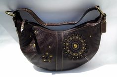 Authentic RARE Coach Mia Burst Small Brown Leather Studded Hobo Bag #Coach #Hobo