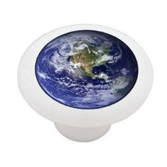 Planet Earth White Decorative High Gloss Ceramic Drawer Knob
