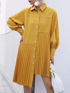 Loose Ruffled Solid Asymmetric Shirt Dress in 2020 Shirtdress Outfit, Dress Outfits, Fashion Outfits, Midi Dresses, Dress Fashion, Tunic Dresses, Hijab Outfit, Pants Outfit, Trendy Fashion