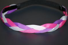 Headband  Light Pink White Light Purple Grosgrain  by Ladybuglogic, $6.25