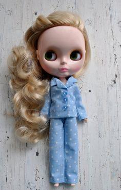 Polka Dot Blue PJs for Blythe dolls.