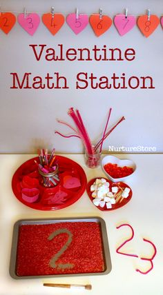 Valentine math station - lots of Valentine math activities, for a range of ages