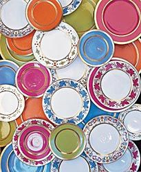 Love the bright colors of William Yeoward's dinner plates and chargers. Collect them all to mix and match for an instant fun table setting.