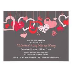 Valentine's Day Party Invitations Valentine's Day Party Invitation Flat Card