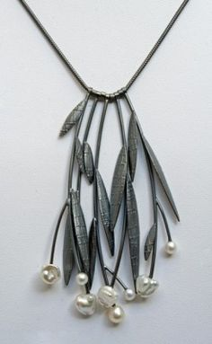 DIY this Sydney Lynch necklace with leather thong, leaves cut from scrap leather and pearl beads (scheduled via http://www.tailwindapp.com?utm_source=pinterest&utm_medium=twpin&utm_content=post608929&utm_campaign=scheduler_attribution)