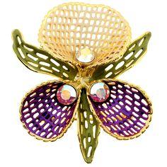 Purple Peach Orchid Swarovski Crystal Flower Pin Brooch