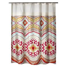 • Durable 100% cotton<br>• Fully lined<br>• Buttonhole top<br>• Machine washable<br>• Coordinates with the Boho Boutique Haze Bedding Collection<br><br>Boho Boutique's Utopia Shower Curtain makes a bold statement with bright colors and global-inspired motifs. The on-trend fabric shower curtain instantly transforms any bathroom.