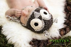 newborn crochet baby owl hat in alpaca