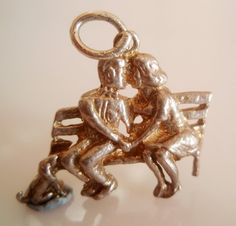 Silver Kissing Couple and Dog Charm by TrueVintageCharms on Etsy