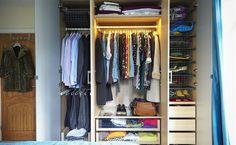 """Przed i po: mała metamorfoza szafy TRZY KROKI DO IDEALNEJ SZAFY 1. Zaplanuj jak wykorzystać całą dostępną przestrzeń - wykorzystaj pełną długość i wysokość ścian.  2. Przejrzyj swoją garderobę  """"Badania pokazują, używamy 20% ubrań, które wiszą  w naszej szafie.  3. Wszystko na swoim miejscu  - pomyśl, jakiego typu ubrania przechowujesz."""