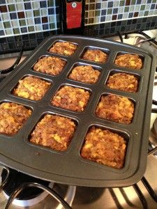 thanks giving breakfast casserole in the pan (scrambled eggs, sausage, Stove Top stuffing!) (13Sp)