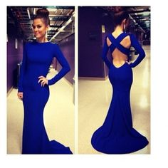 Cheap Sexy O Neck Long Sleeves Crossed Backless Blue Polyester Trailing Mermaid Bandage Dress