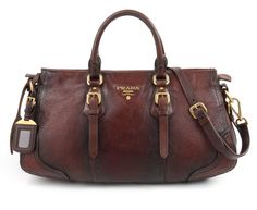 Prada A/w 2007 cervo Antik Brown Distressed Deerskin Leather Buckle Satchel PGKII1