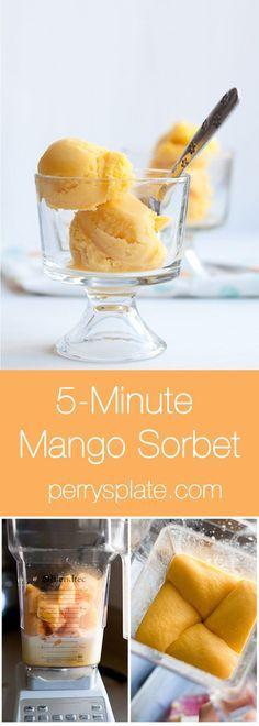 Fast and Easy Mango Sorbet you can make in a blender! | mango recipes | paleo dessert recipes | perrysplate.com