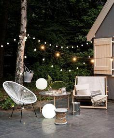 Decoration Terrasse - Bright Idea - Home, Room, Furniture and Garden Design Ideas Backyard Lighting, Outdoor Lighting, Outdoor Decor, Lighting Ideas, Outdoor Fire, Lighting Design, Exterior Lighting, Backyard Patio, Backyard Landscaping