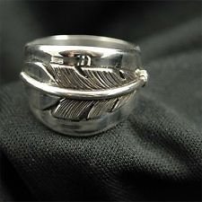 Native American Cherokee Wedding Rings Indian Sterling Silver Feather Band