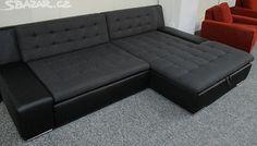 Rozkládací černá sedací souprava s úložným prostorem. - obrázek číslo 1