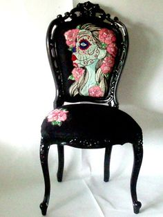 vintage style chair in gloss black with hand embroidery artwork, day of the dead gypsy bride