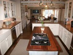 #kitchen #inspiration #renovation White cabinets and butcher block counter tops... Swoon!