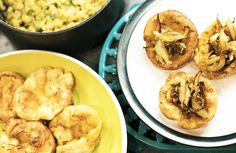 Mini-Yorkshire-puddings-pease-pudding-cauliflower-onions-vegetarian