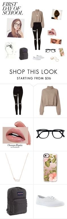 """""""Untitled"""" by moodydee ❤ liked on Polyvore featuring Topshop, Rejina Pyo, Disney, Kendra Scott, Casetify, JanSport and Keds"""