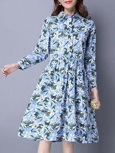 Elegant Floral Printed Long Sleeve Women Lapel High Waist Shirt Dress