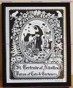 'St. Gertrude of Nivelles ~ Patron Saint of Cats & Gardeners' by Helen Zwerdling (c)~ Hells Belles Art (c) www.facebook.com/hellsbellesart www.etsy.com/shop/hellsbellesart