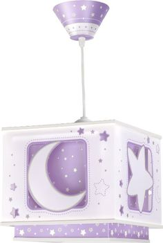 Dalber - Lampada da soffitto, a sospensione quadrata, motivo: luna, colore: viola