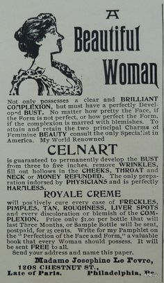 1895 Antique Victorian Celnart Wrinkle Remover Bust Enhancer Original Print Ad | eBay You have to read this, it's funny!