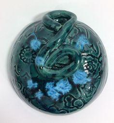 Handmade Ceramic Wall Pocket Vase - Blue Green Black Pottery