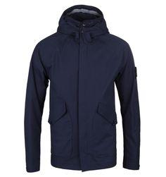 Stone Island Ventile Navy Zip Through Hooded Jacket