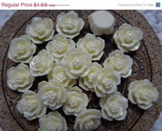 SALE 10 Antique White/Off White Glitter Resin Flowers Cabochon- 15mm  $1.89