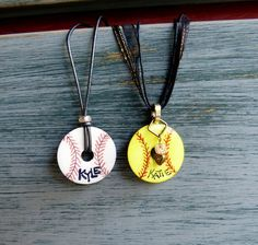Items similar to Personalized Softball or Baseball Necklace - Unique Washer Necklace - Custom Order Item on Etsy Softball Party, Softball Crafts, Girls Softball, Softball Team Gifts, Softball Tournaments, Softball Quotes, Softball Stuff, Baseball Party, Baseball Mom