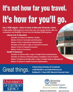 Get a UDM degree – close to home at the Macomb University Center.