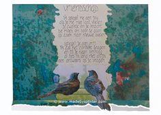'Vriendschap' ansichtkaart gemaakt door Saskia Splinter. #postcard #art #calligraphy #ansichtkaart #birds #friendship #vriendschap