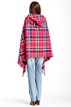 Ruyi Pink Plaid Ruana Wrap