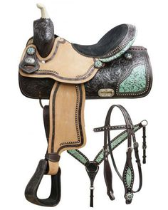 Dark Horse Tack is proud to offer. Double T barrel saddle set with teal filigree inlay. This saddle features dark chocolate, floral tooled leather with teal filigree print skirt inlay and c Barrel Racing Saddles, Barrel Saddle, Horse Saddles, Horse Halters, Barrel Horse, Equestrian Boots, Equestrian Outfits, Equestrian Style, Equestrian Problems