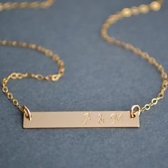 Personalized Gold Bar Necklace Bar Monogram by MalizBIJOUX on Etsy, $27.00