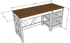 DIY Office Desk plans for the home office