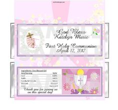 Personalized SACRED Pink CROSS First 1st Communion candy bar wrappers FREE FOILS