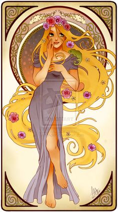 Disney Princess art- interpreted in a combination style of Alphonse Mucha, 50's pin-up, & a touch of Anime. LUH-UV these. I want to frame them all & hang them in my room!