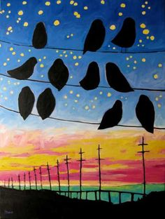 fine art by Patty Baker - original and commissioned paintings, contemporary acrylic paintings - great idea for perspective. Birds on wire sunset night sky Creation Art, 6th Grade Art, Perspective Art, Ecole Art, Art Lessons Elementary, Art Education Lessons, School Art Projects, Elements Of Art, Art Lesson Plans