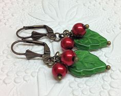 Holly Earrings, Holiday Earrings, Holly Leaves and Berries for Christmas or Yule. by thepinkmartini