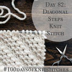 100 days of knit stitches // Diagonal Steps Knit Stitch Knitting Stiches, Circular Knitting Needles, Knitting Videos, Loom Knitting, Knitting Patterns, Knit Stitches, Knitting Tutorials, Free Knitting, Crochet Patterns
