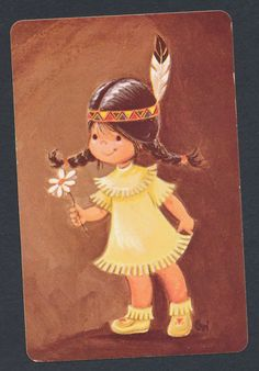 Native American Indian girl playing card single swap ace of spades - 1 card
